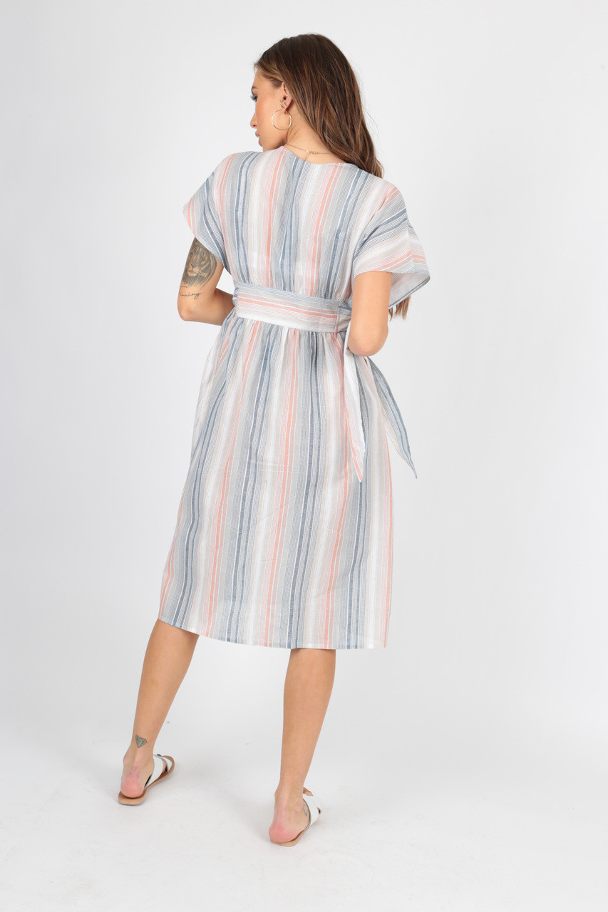 Cotton Stripe Button Through Midi Dress with Tie Belt