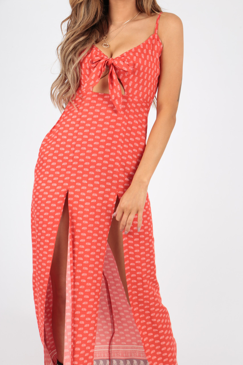 Paisley Border Print Maxi Dress With Tie Front and Splits