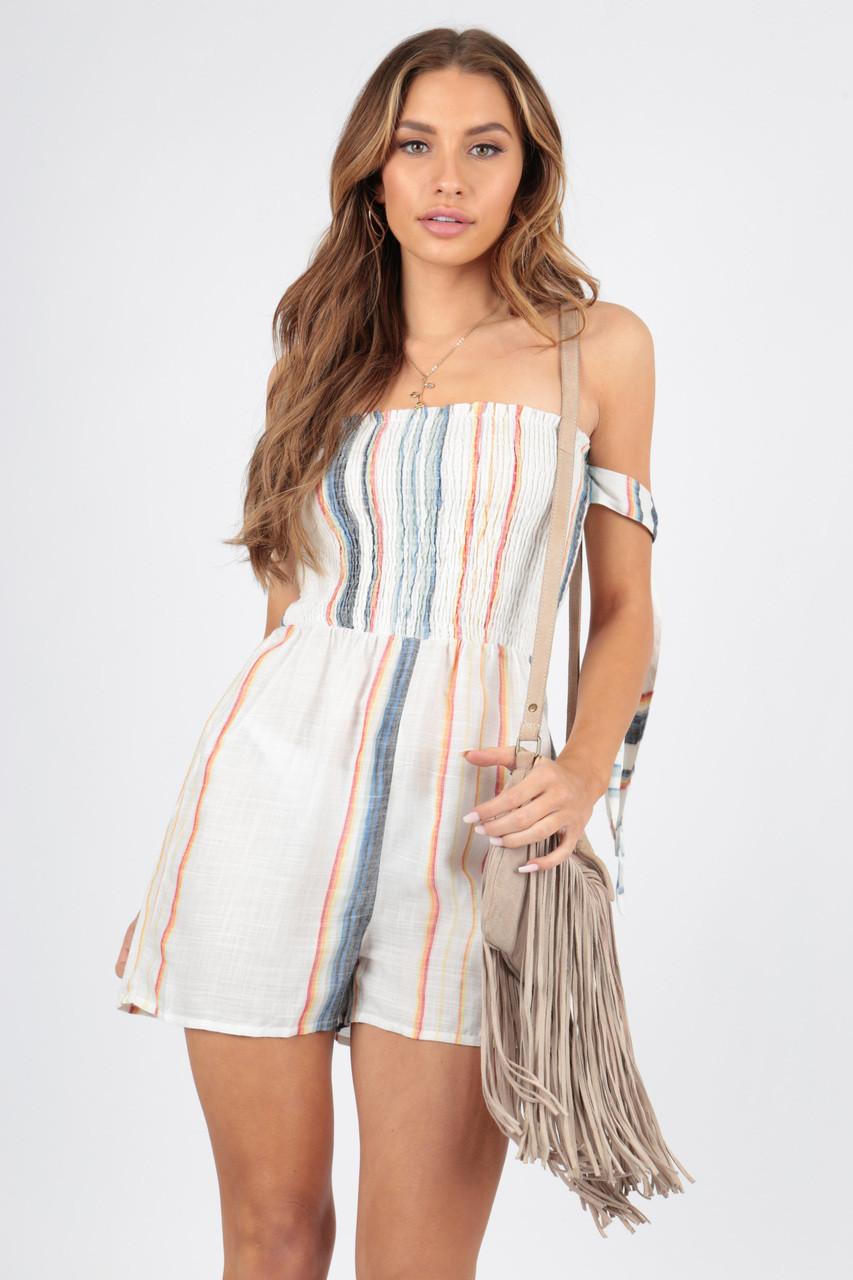 Cotton Stripe Tie Sleeve Bardot Playsuit