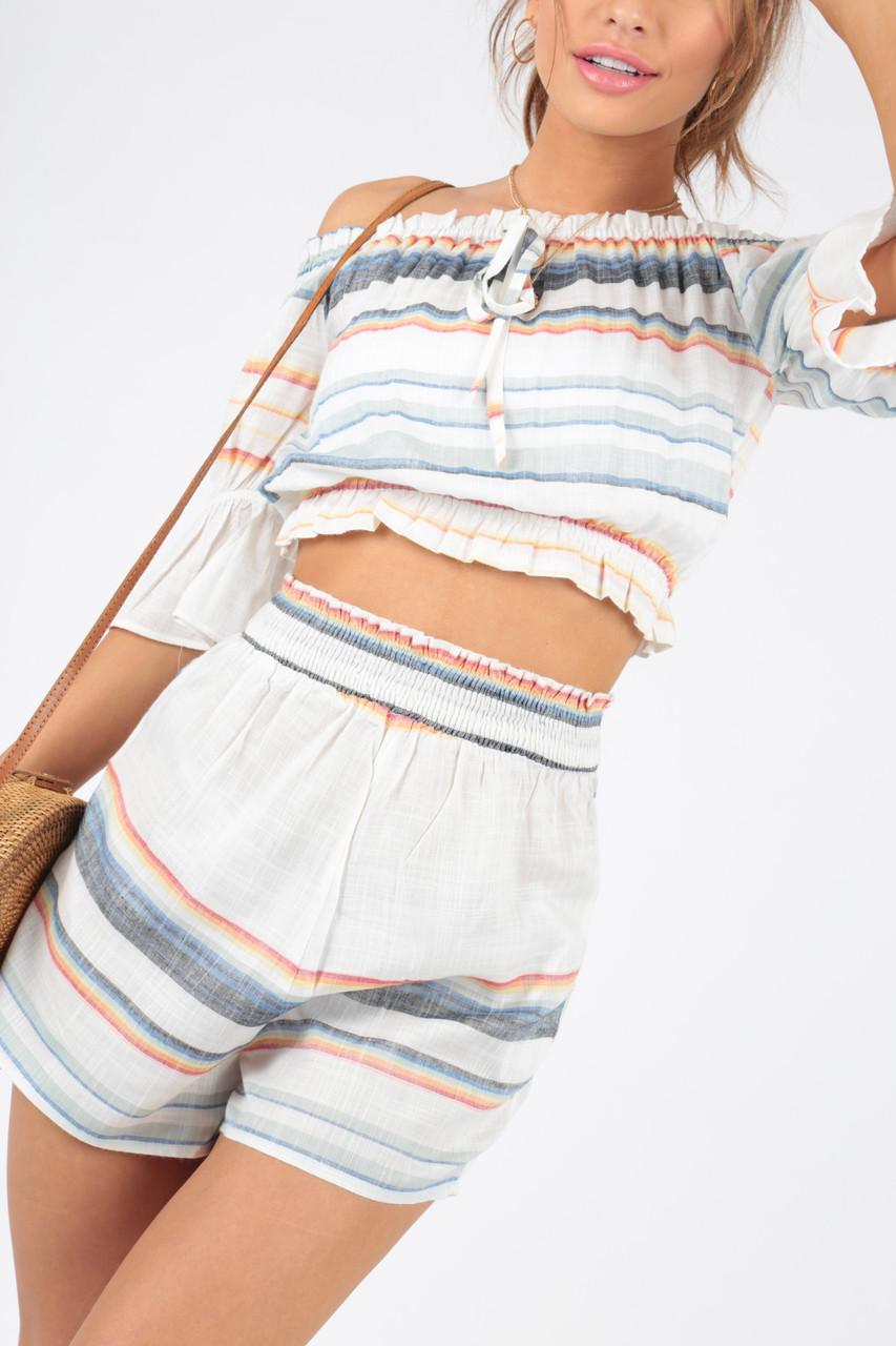 Striped Cotton Summer Co-ord Bardot Top Beachwear
