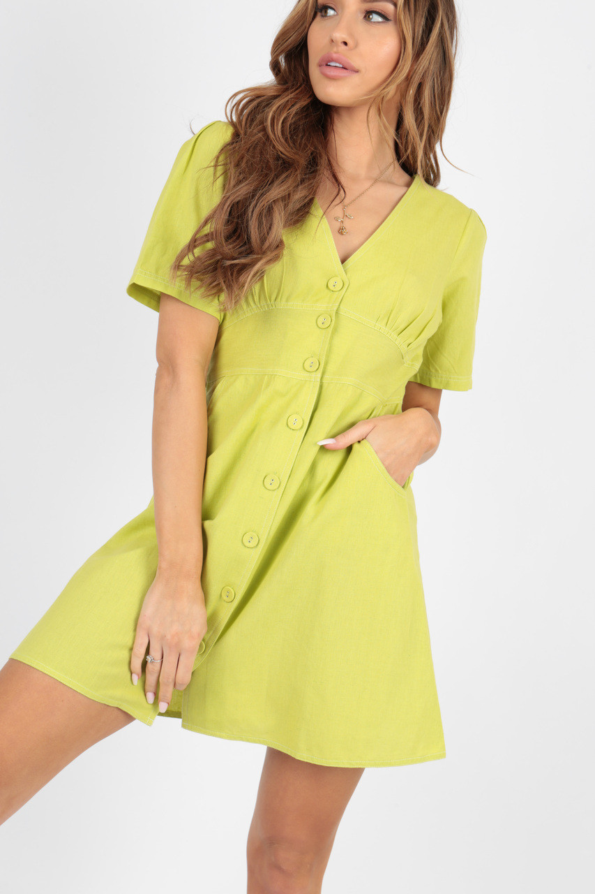 Lime Cotton Contrast Stitch Dress With Gathers And Self Fabric Button Detail