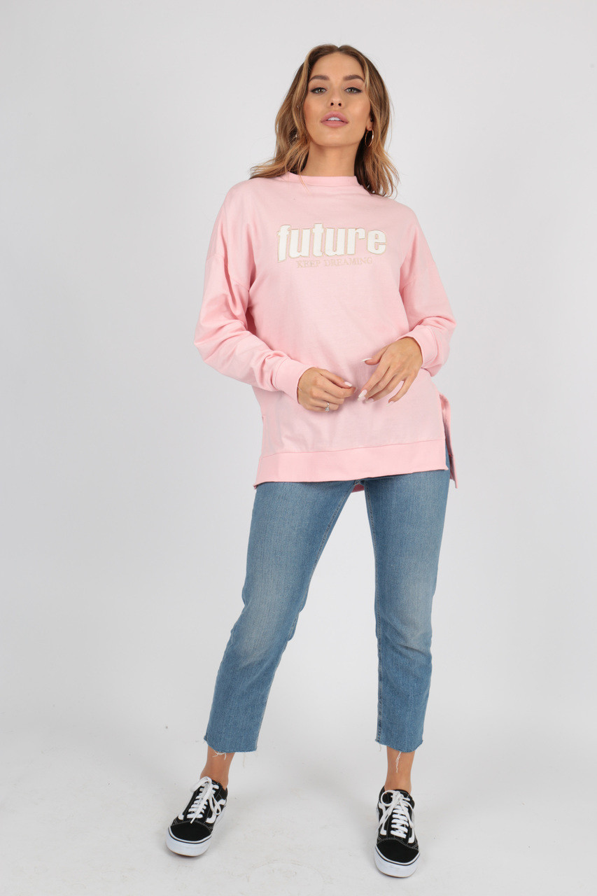 Future Slogan Split Side Oversized Sweat Top