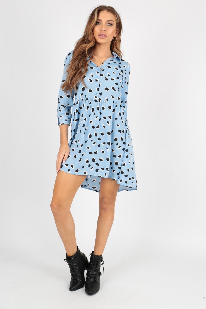 Blue Abstract Animal Dipped Hem Shirt Dress