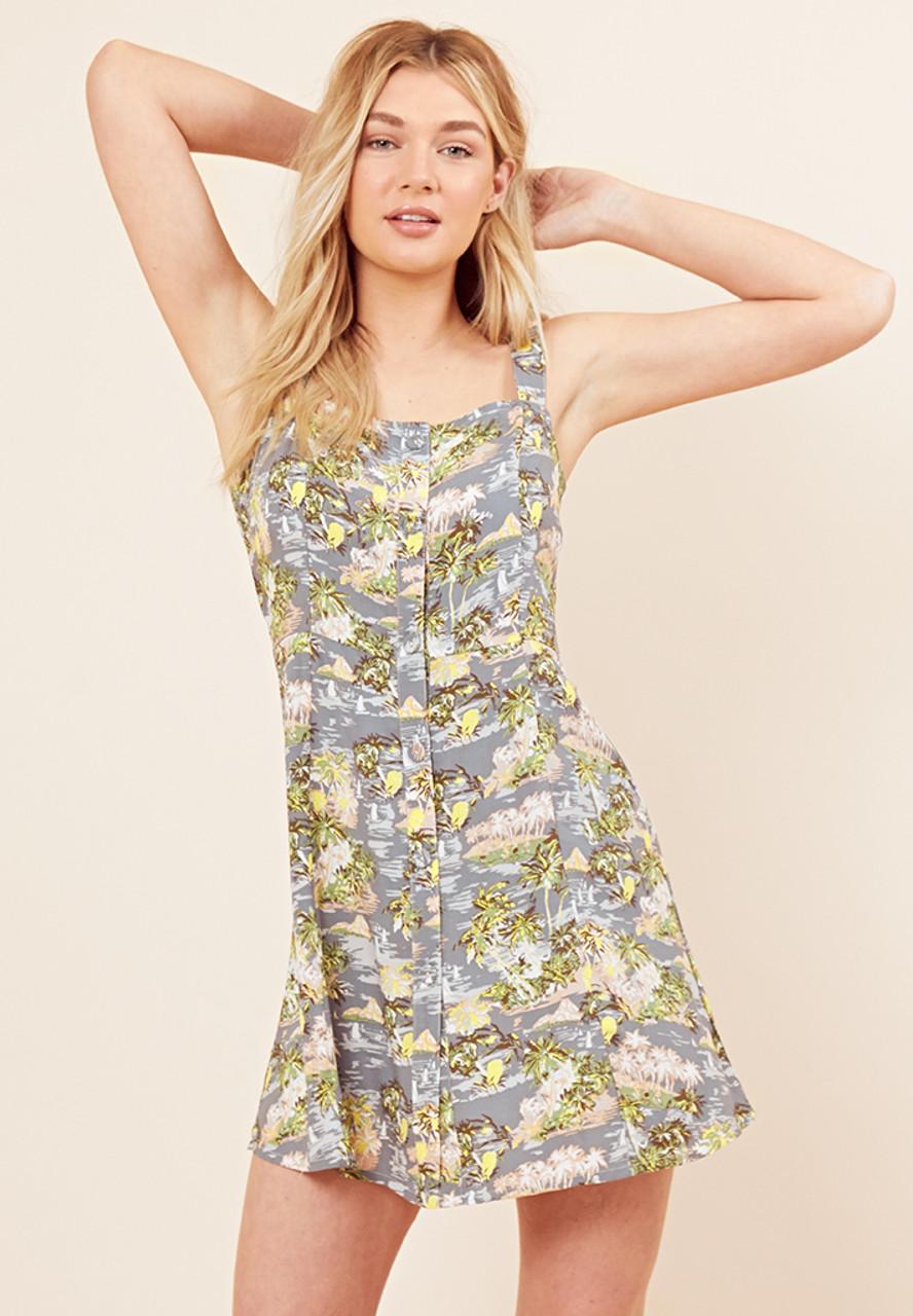 Multi Tropical Print Cami Pinafore Dress