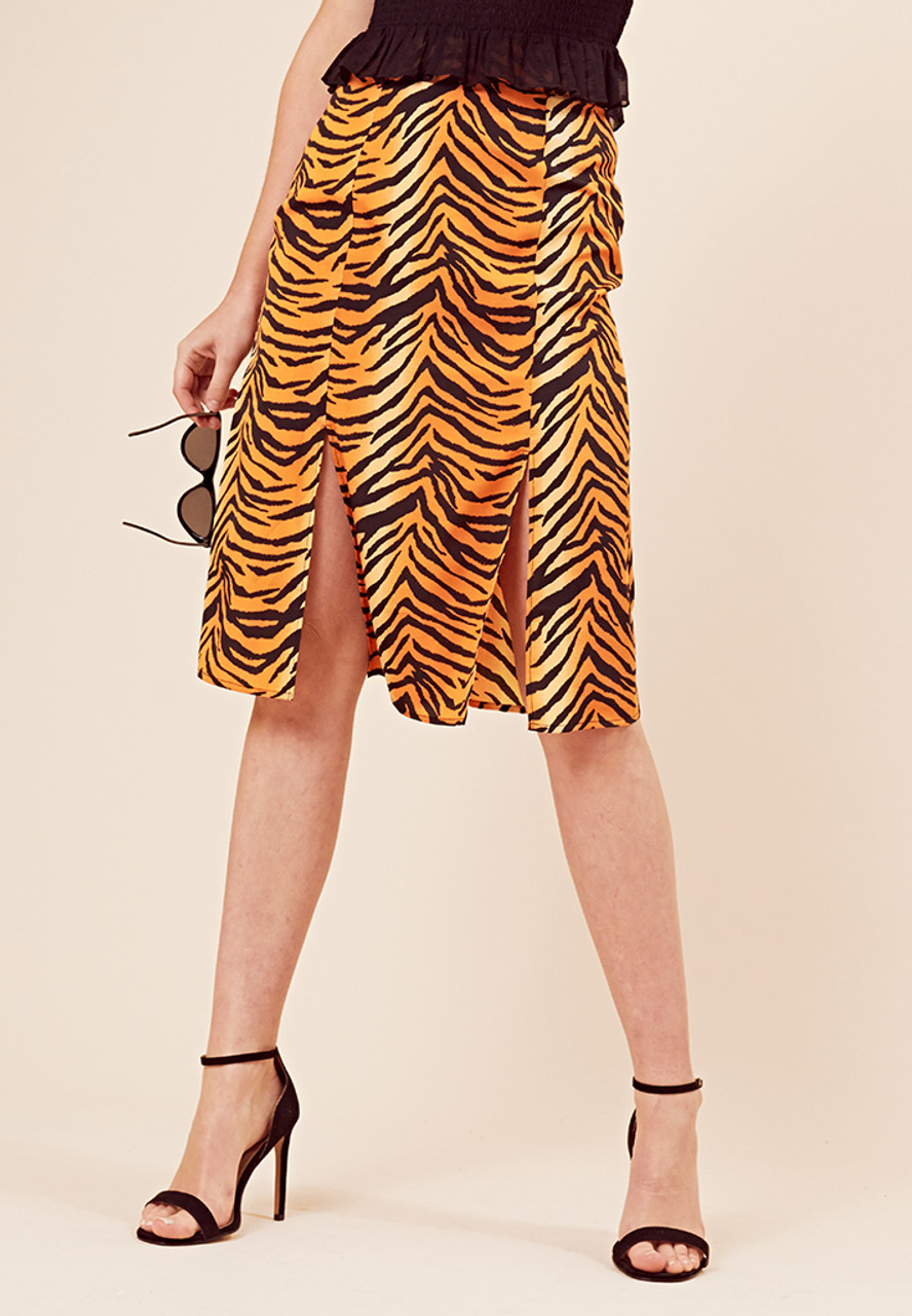 Tiger Print Double Split Midi Skirt