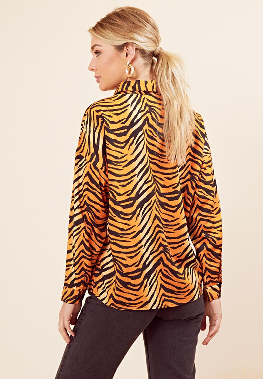 Tiger Print Long Sleeve Oversized Shirt