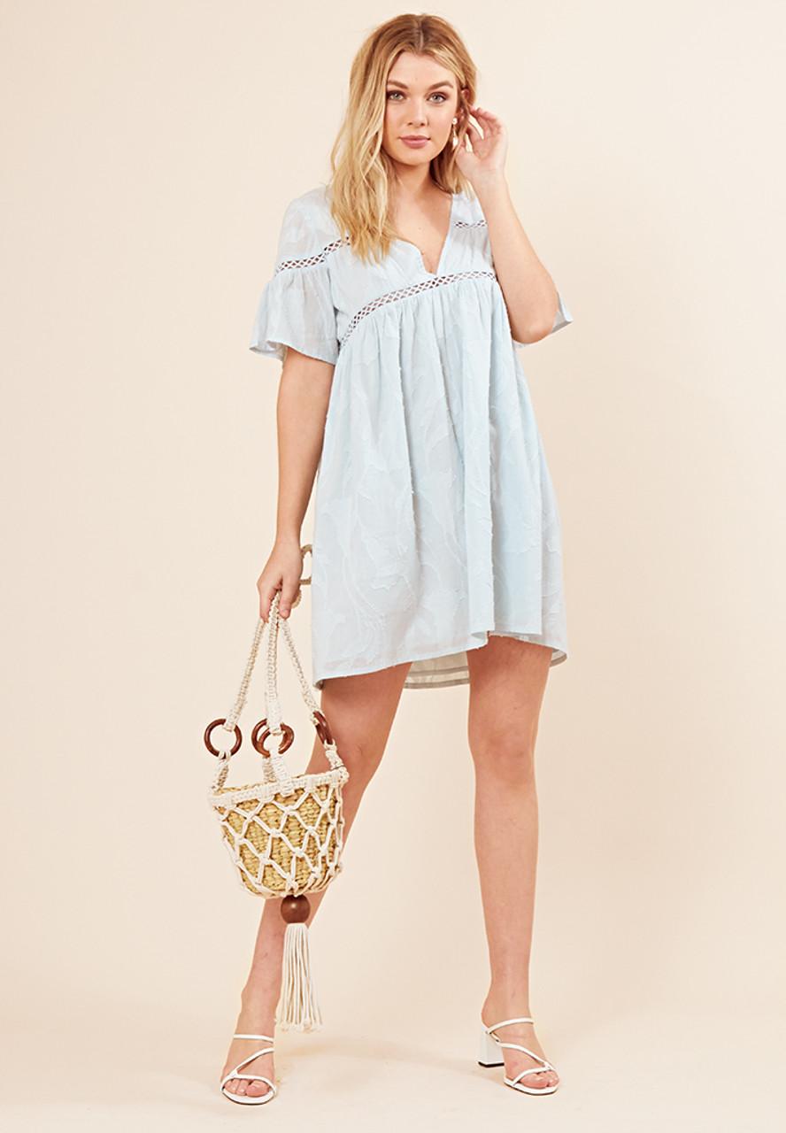 Dusty Blue Cotton Crochet Trim Smock Dress