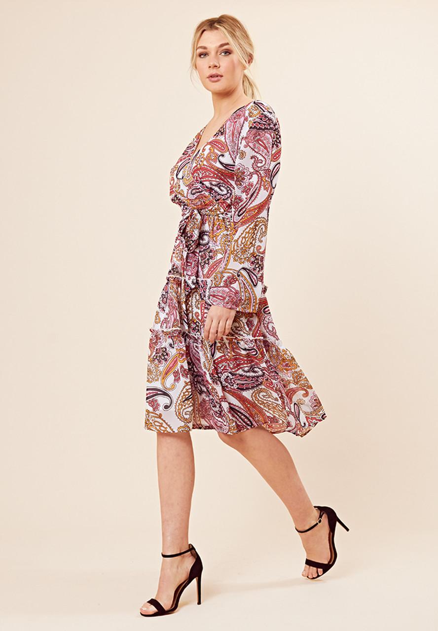 Multi Paisley Print Wrap Midi Dress