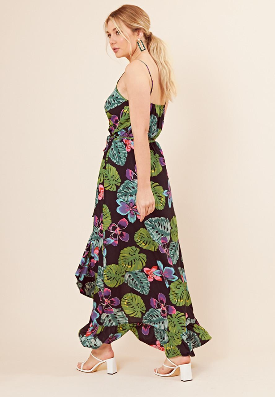 Black Tropical Print Wrap Over Cami Maxi Dress
