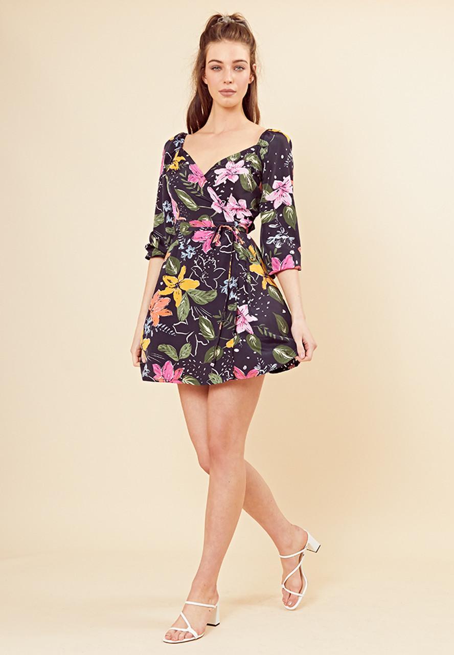 Selena Floral Wrap Mini Dress