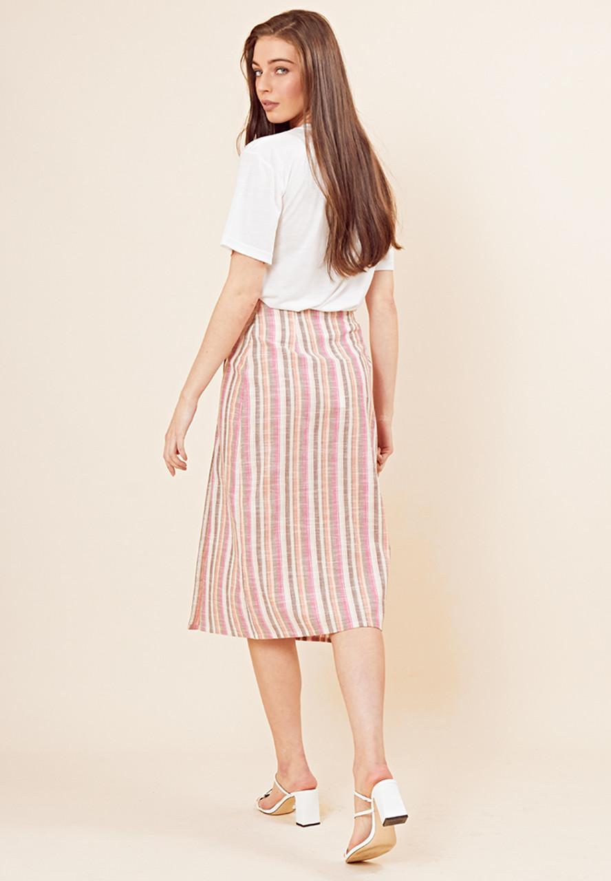 Rainbow Stripe Asymmetric Button Midi Skirt