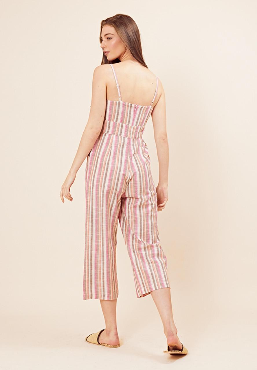 Rainbow Stripe Tie Front Culotte Jumpsuit