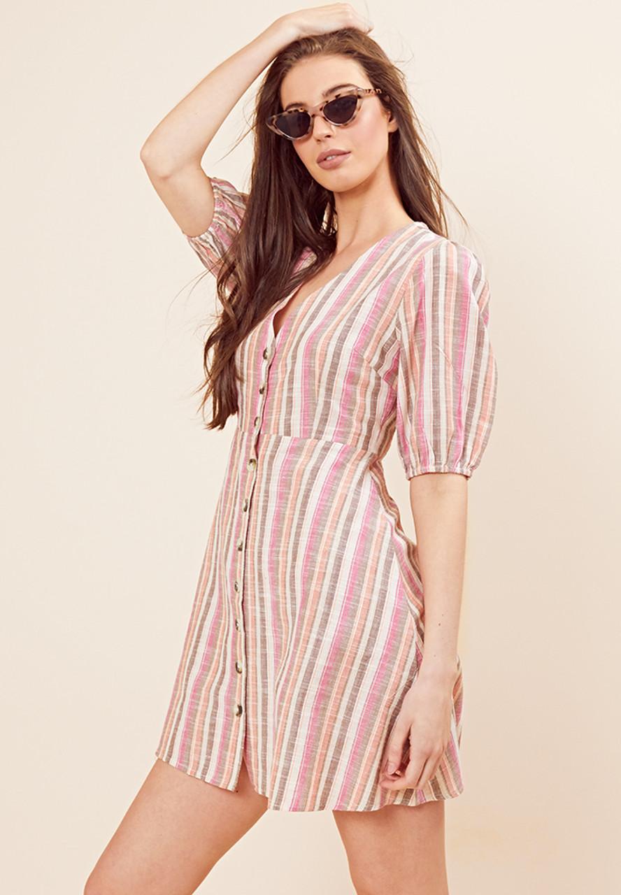 Button Front Rainbow Stripe Tea Dress