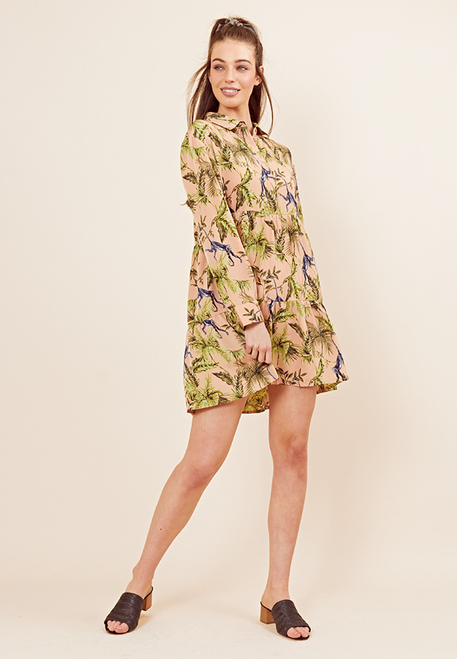 Monica Monkey Tiered Shirt Dress
