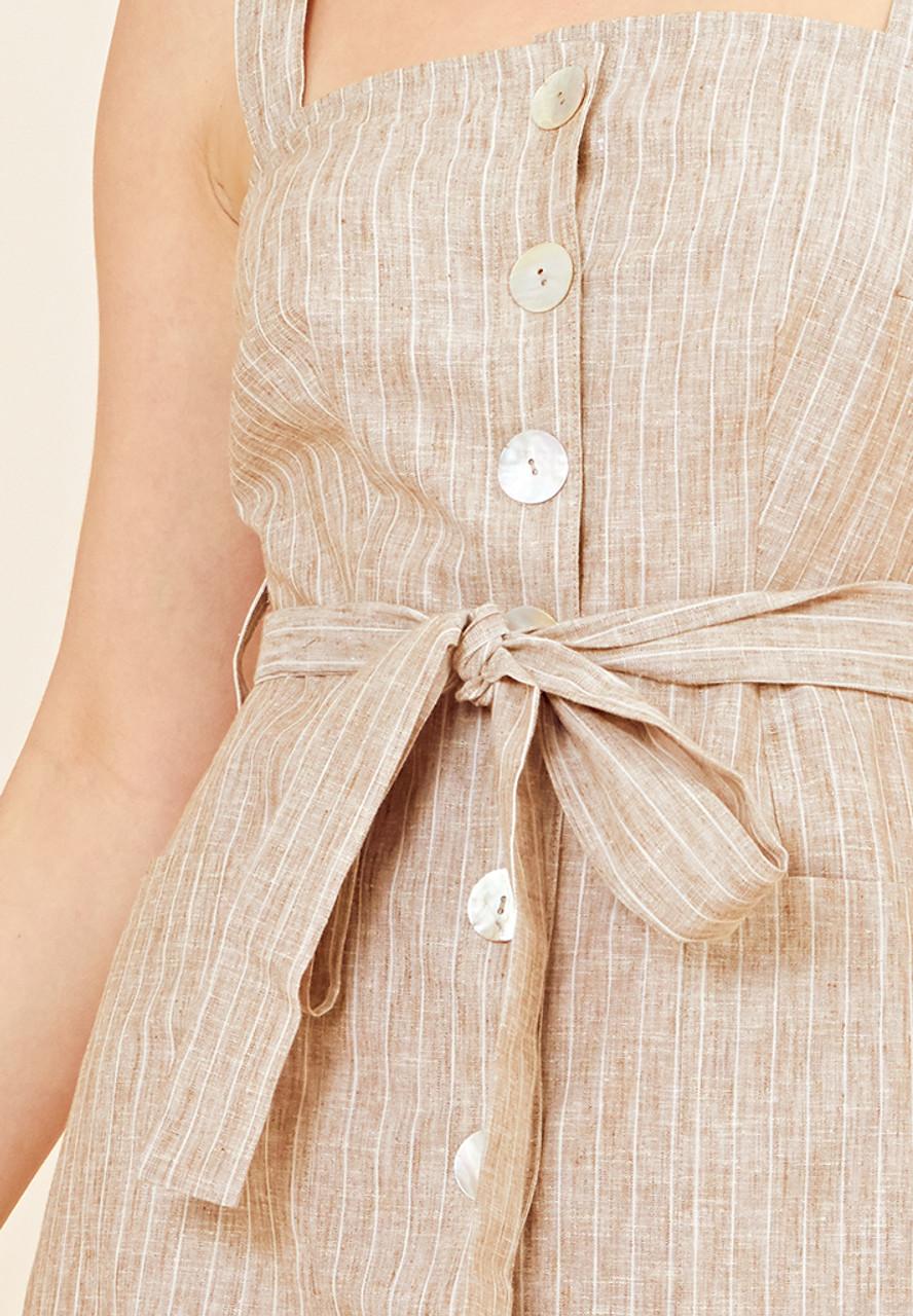 Pinstripe Utility Midi Dress