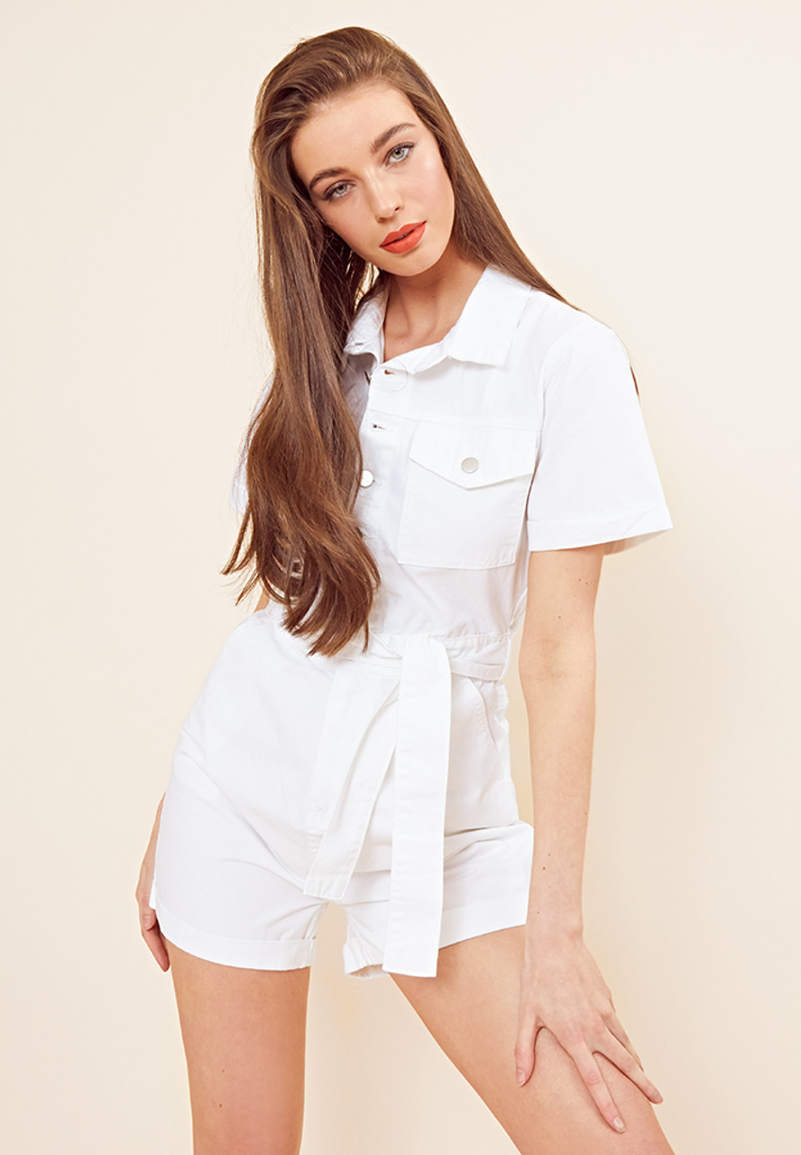 White Belted Utility Playsuit