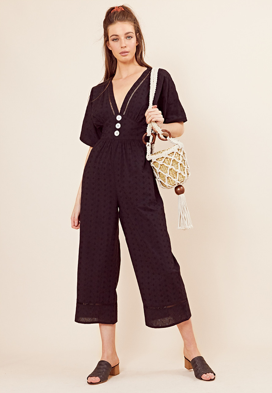 Black Broderie Jumpsuit