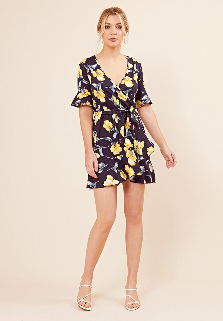 Navy Floral Wrap Frill Skirt Dress