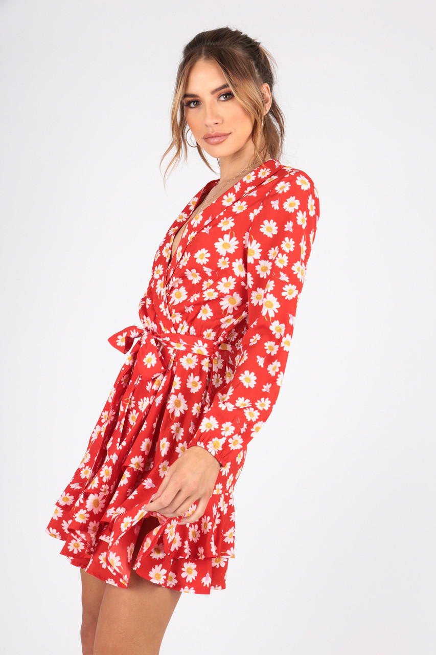 Red  Daisy Print Wrap Dress With Ruffle Hem and Self Fabric Belt