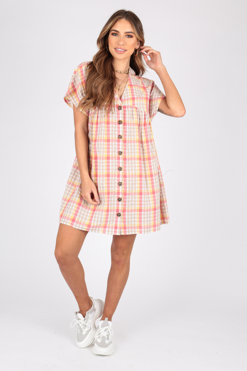 Cotton Check Smock Dress With Mock Horn Button Detailing