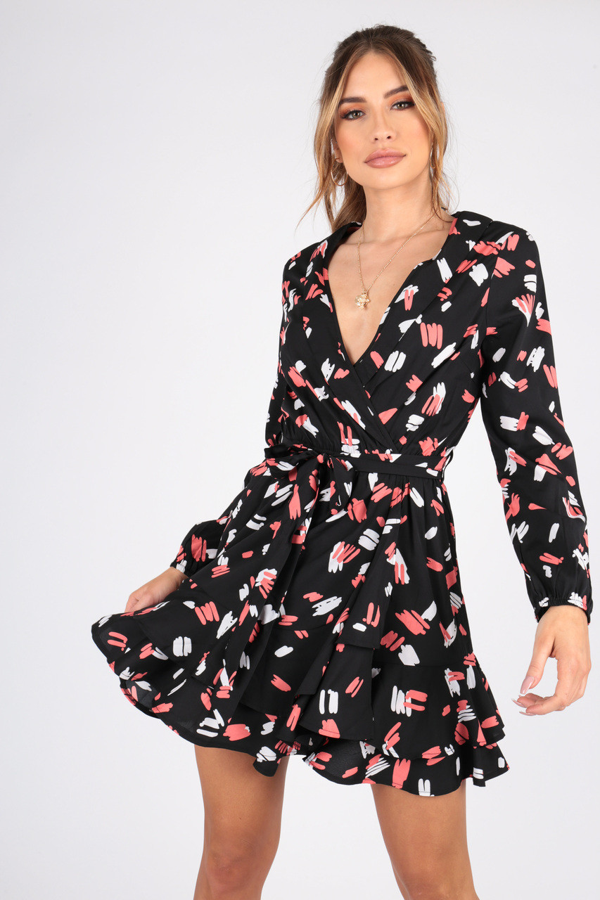 Abstract Print Wrap Dress With Ruffle Hem and Self Fabric Belt