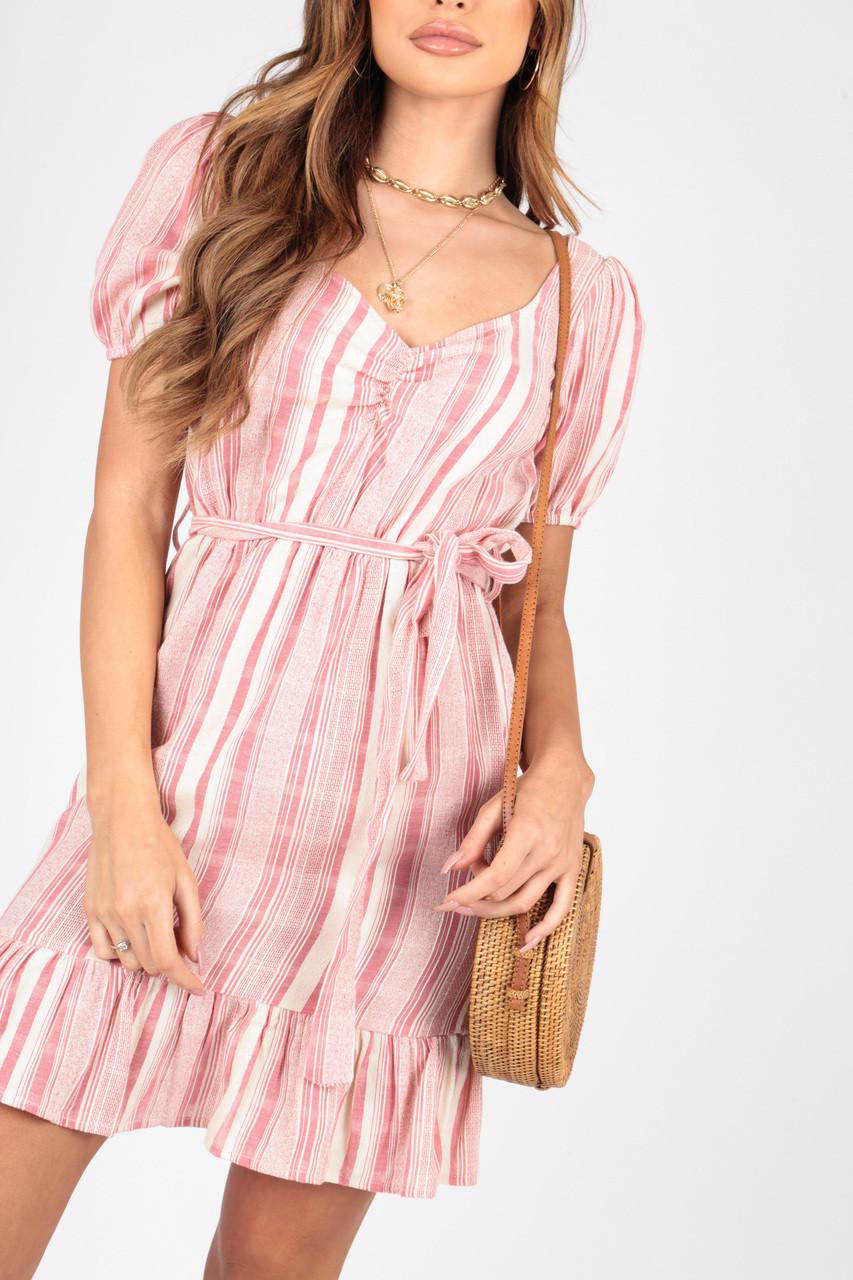 Cotton Stripe Summer Dress With Ruffle Hem and Self Fabric Belt