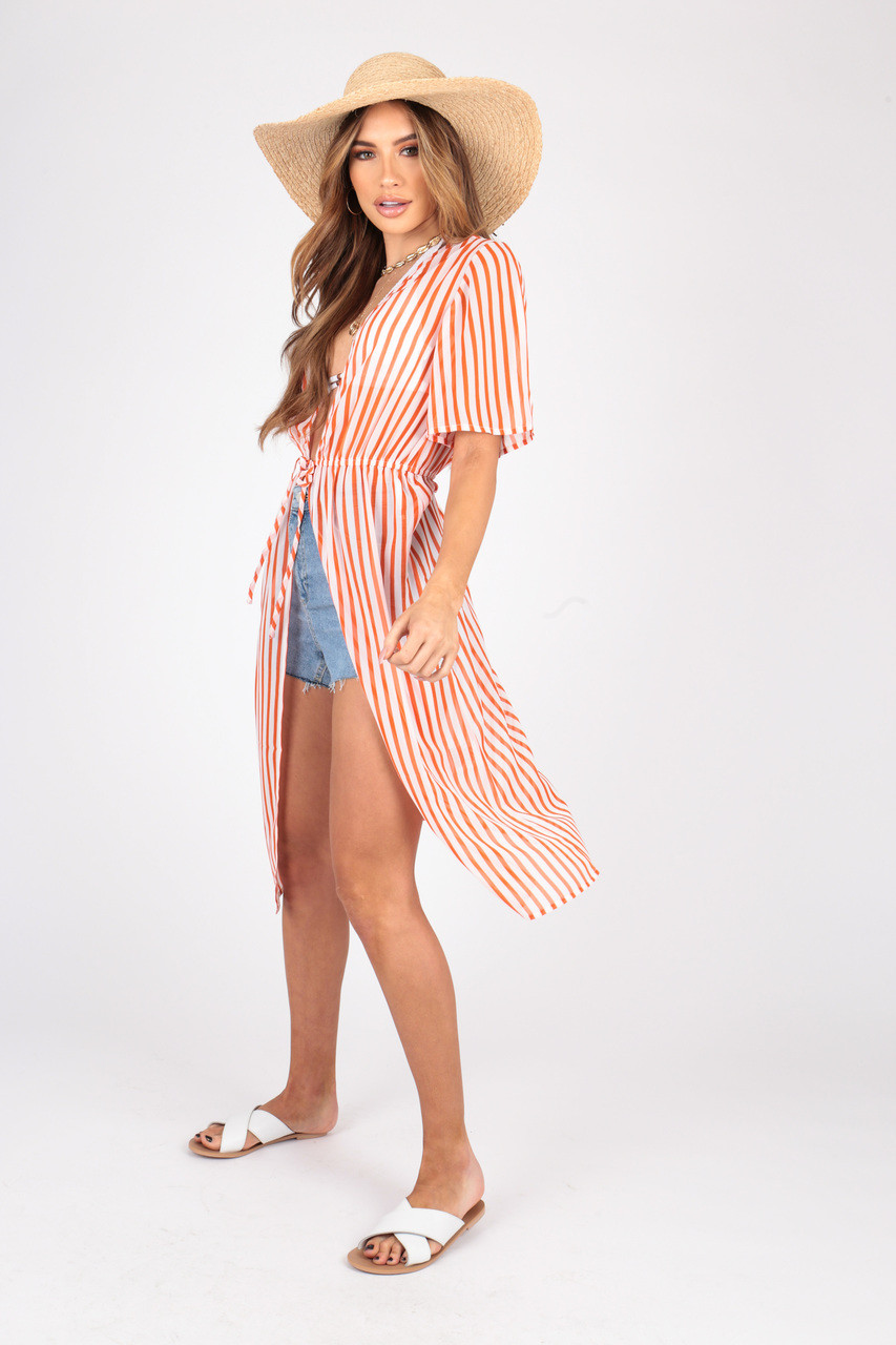Stripe Georgette Kimono With Elasticated Waist and Self Fabric Tie