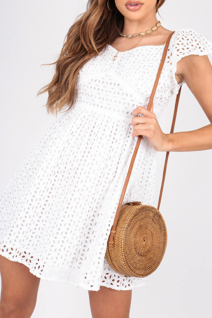 White Broderie Anglaise Summer Dress With Sweetheart Neckline and Short Cap Sleeve