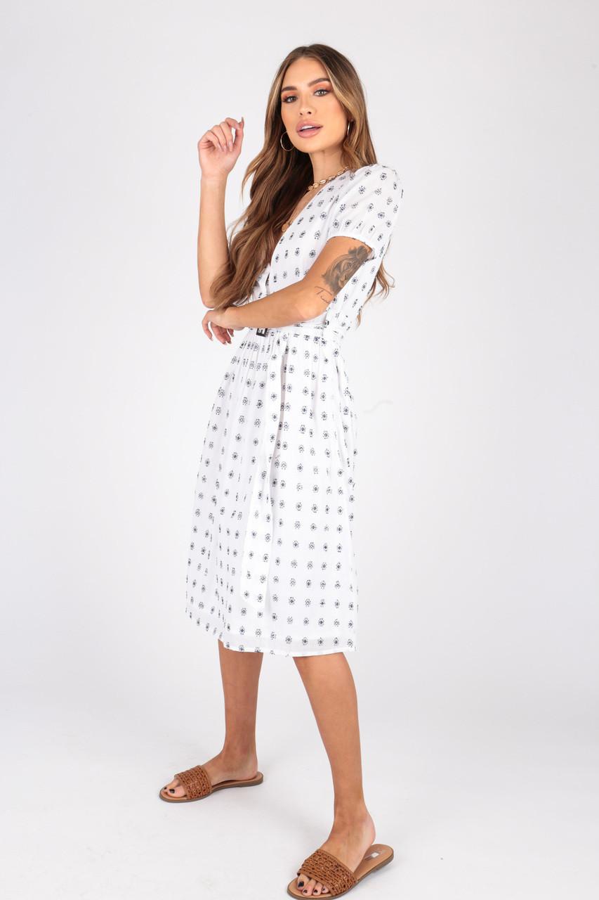 Cotton Dobby Midi Dress With Belt Detail