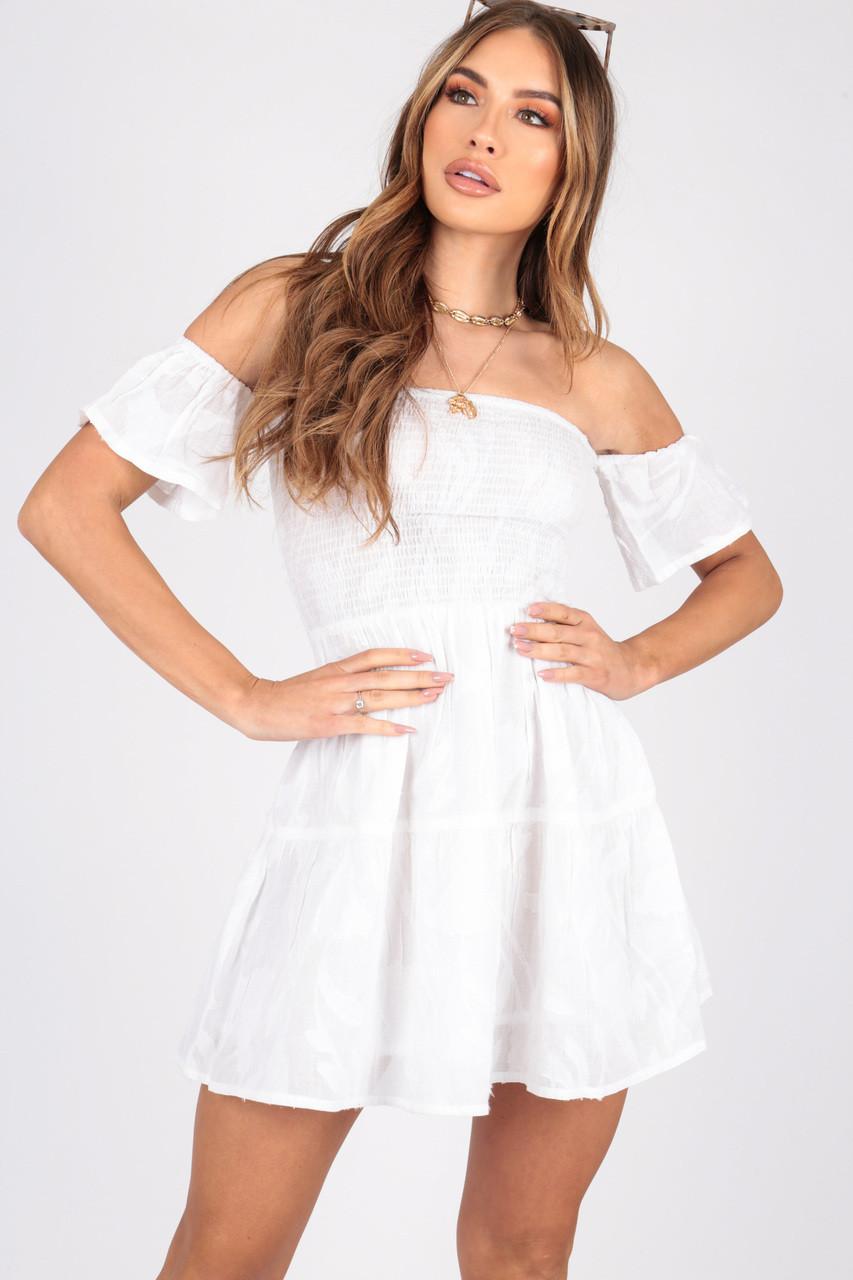 white Shirred Bardot Dress in Burnout Cotton