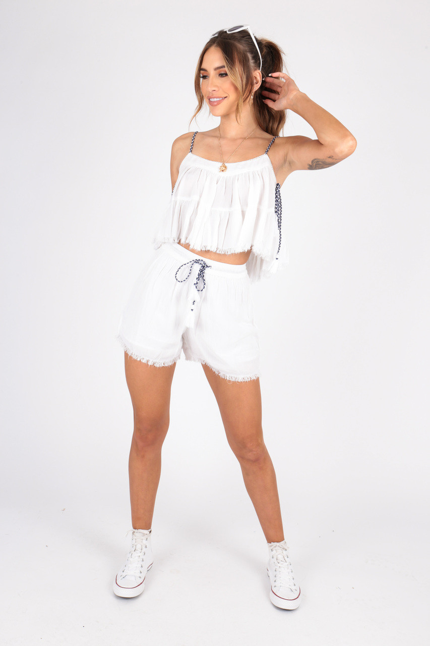 White Chesscloth Co-ord, Tired Cami Top With TasselL Trim