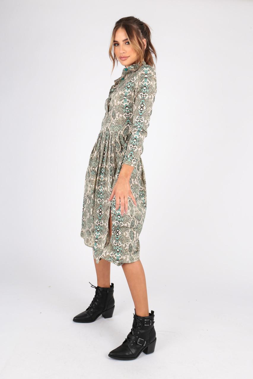Snake Print Midi Shirt Dress With Pleated Skirt and Splits