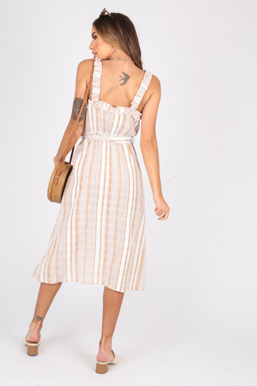 Cotton Stripe Midi Dress With Ruffle Straps, Button Detailing and Self Fabric Belt
