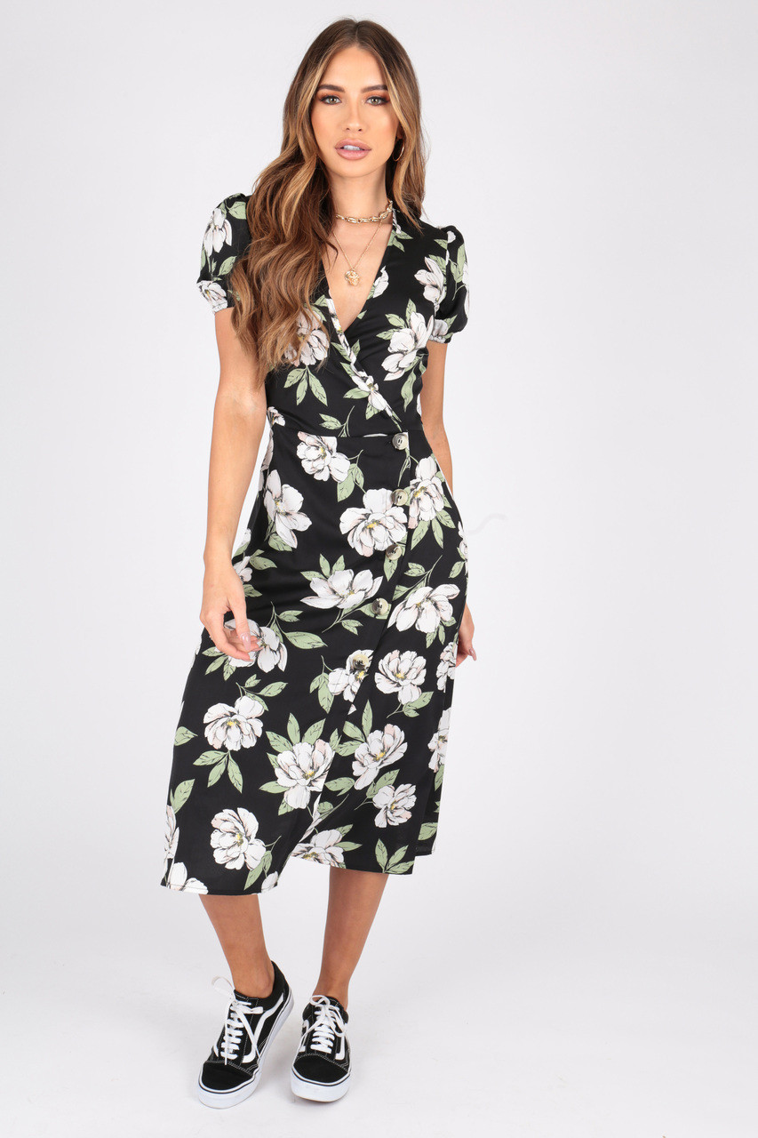 Large Scale Floral Print Midi Wrap Dress With Puff Sleeves and Button Detailing