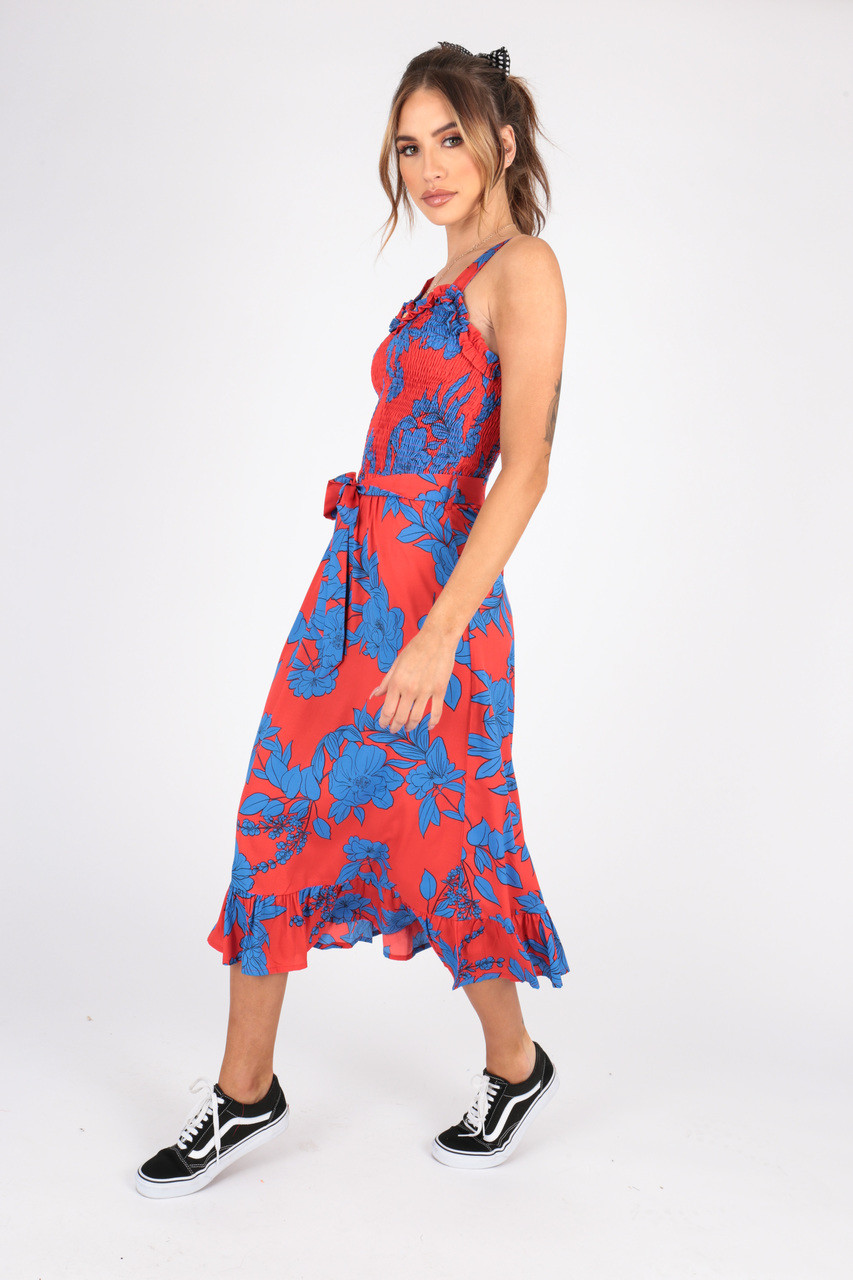 Statement Floral Print Midi Dress With Shirred Body and Ruffle Detailing