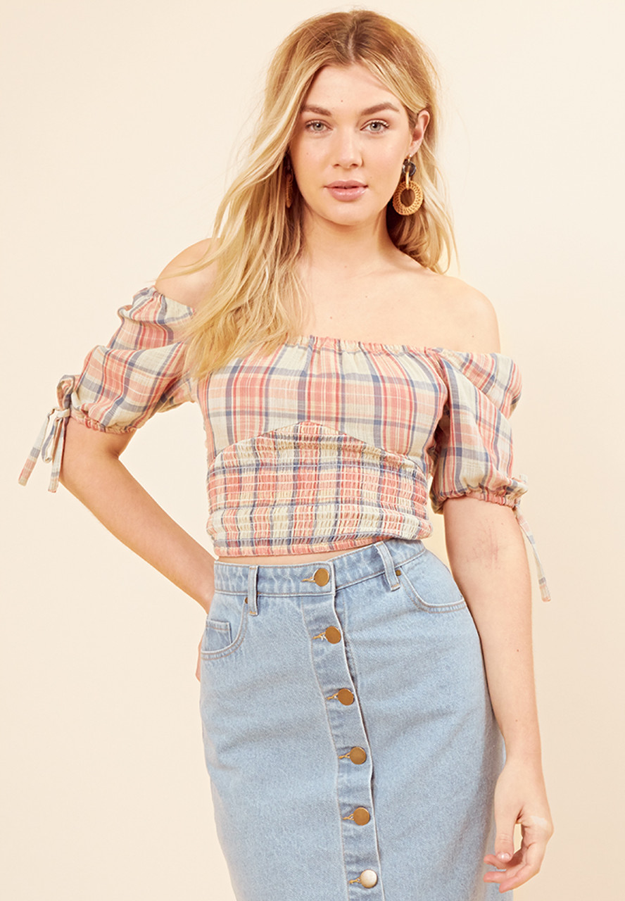 Checked Bustier Top