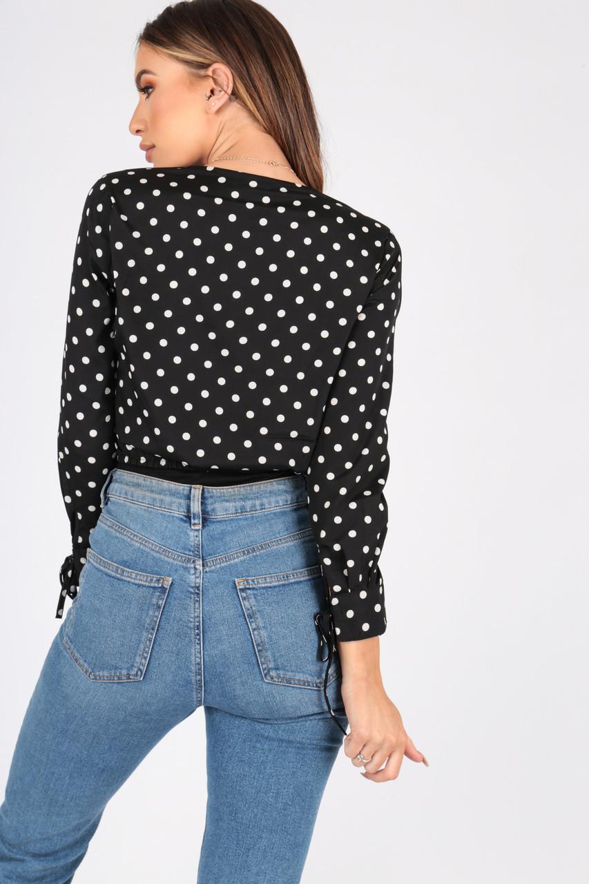 Black and White Polka dot Ruffle Front Plunge Bodysuit