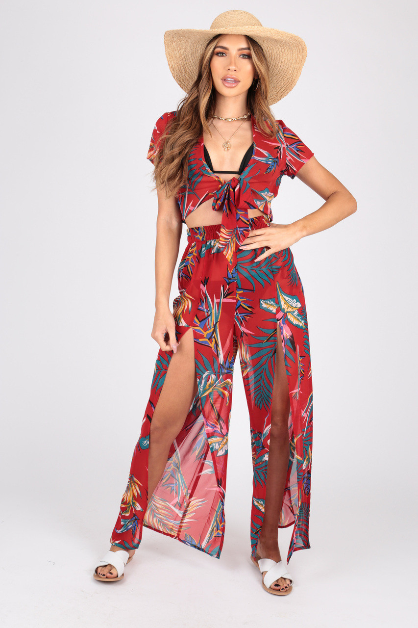 Tropical Print Georgette Co-Ords  Split Trouser