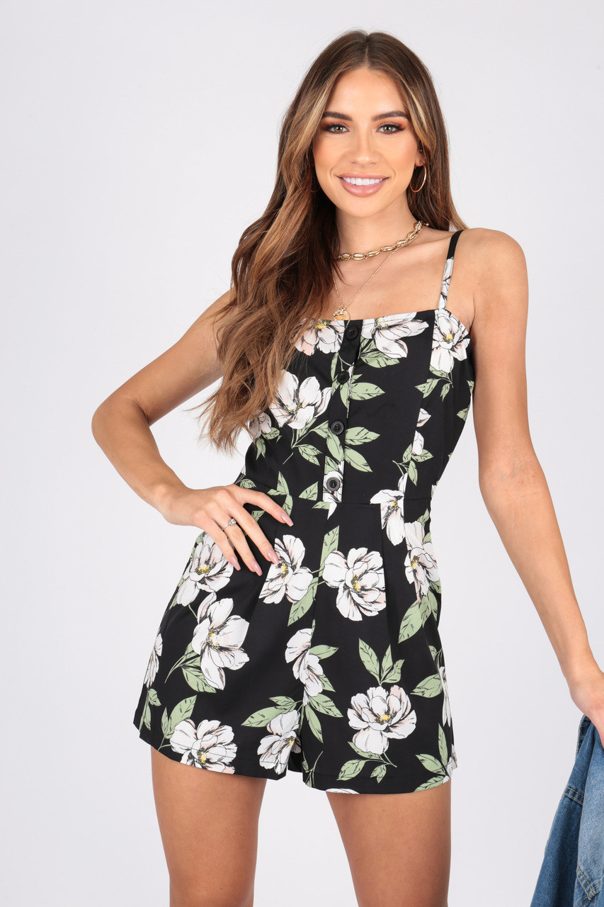 Large Scale Floral Button Down Playsuit