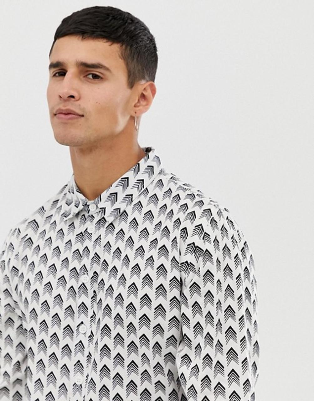 White Arrow Print Long Sleeve Shirt