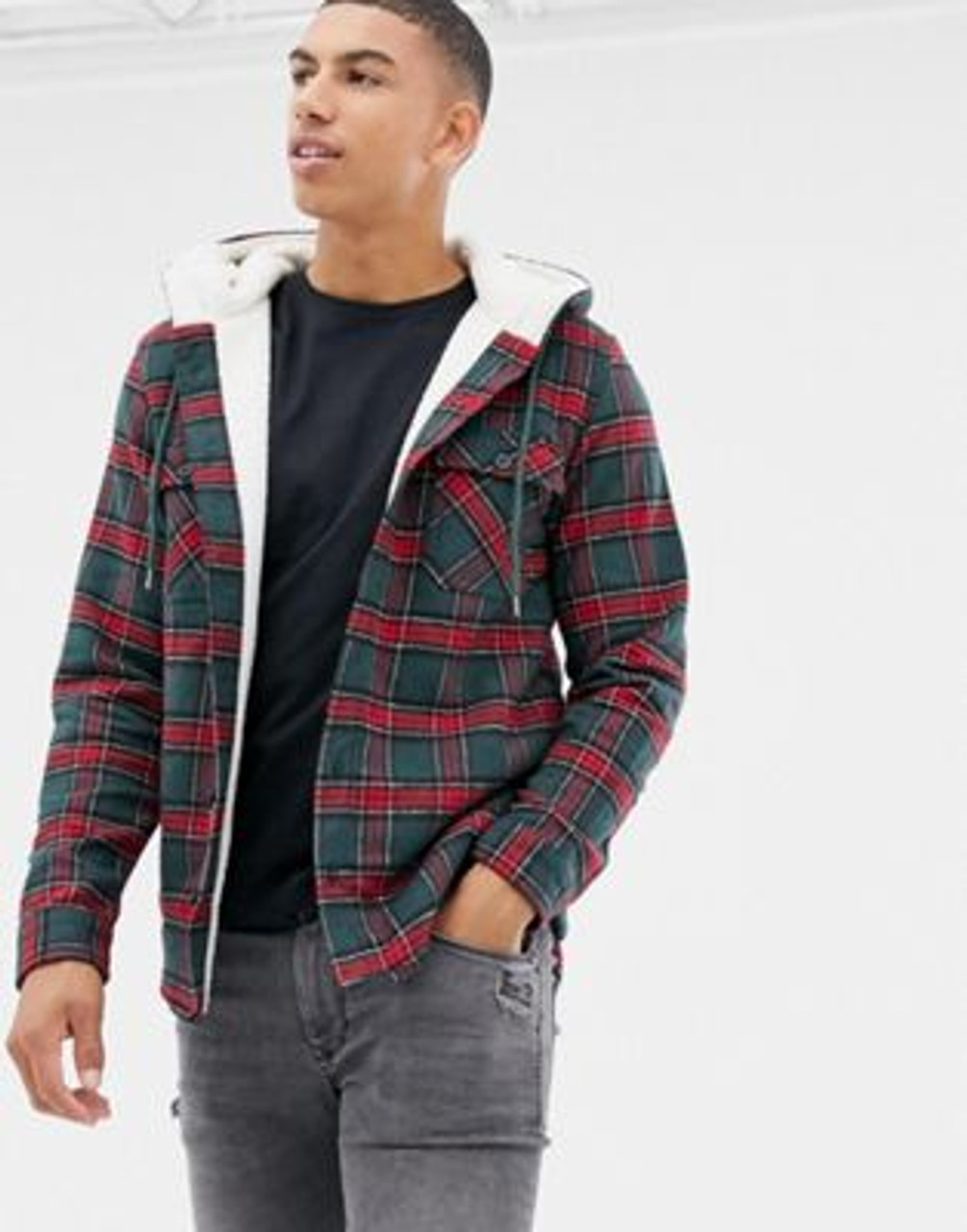 Borg Lined Check Over Jacket
