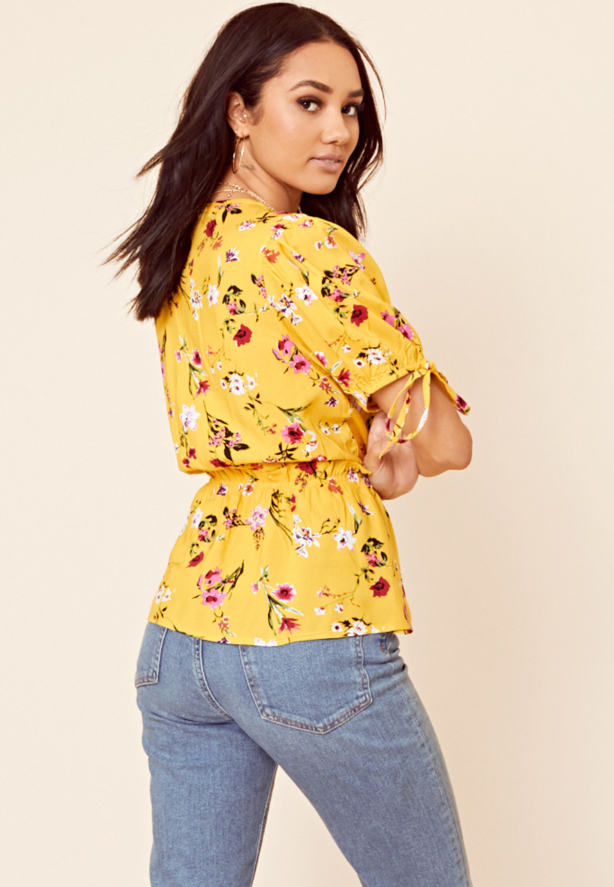 Yellow Floral Wrap Top With Tie Sleeve Detail