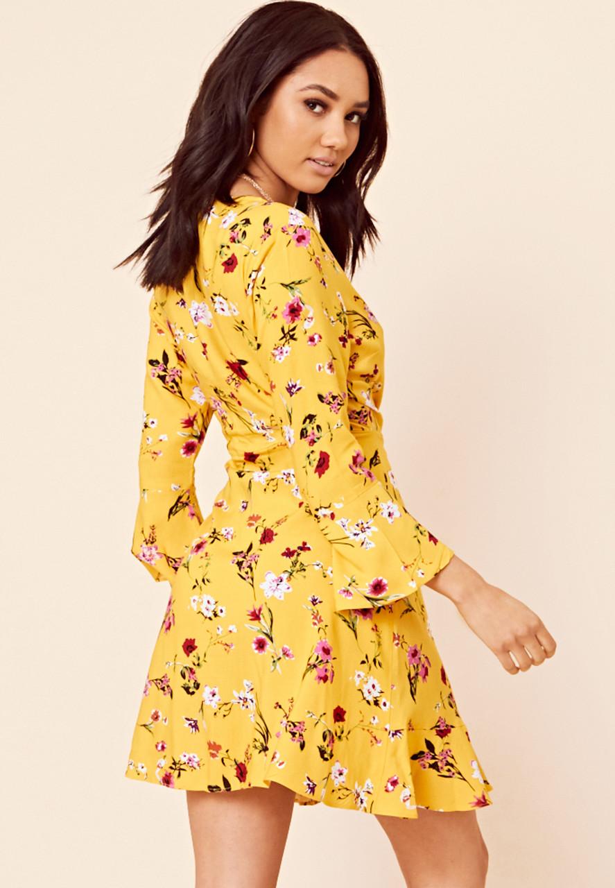 Yellow Floral Print Ruffle Hem Mini Dress