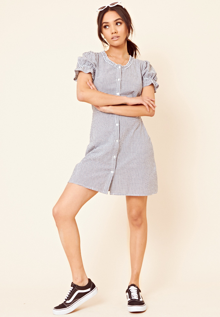 Navy and White Gingham Button Through Tea Dress