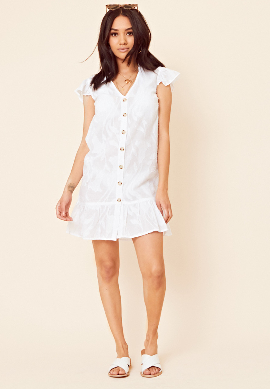 White Cotton Burn Out Dropped Hem Frill Sleeve Beach Dress