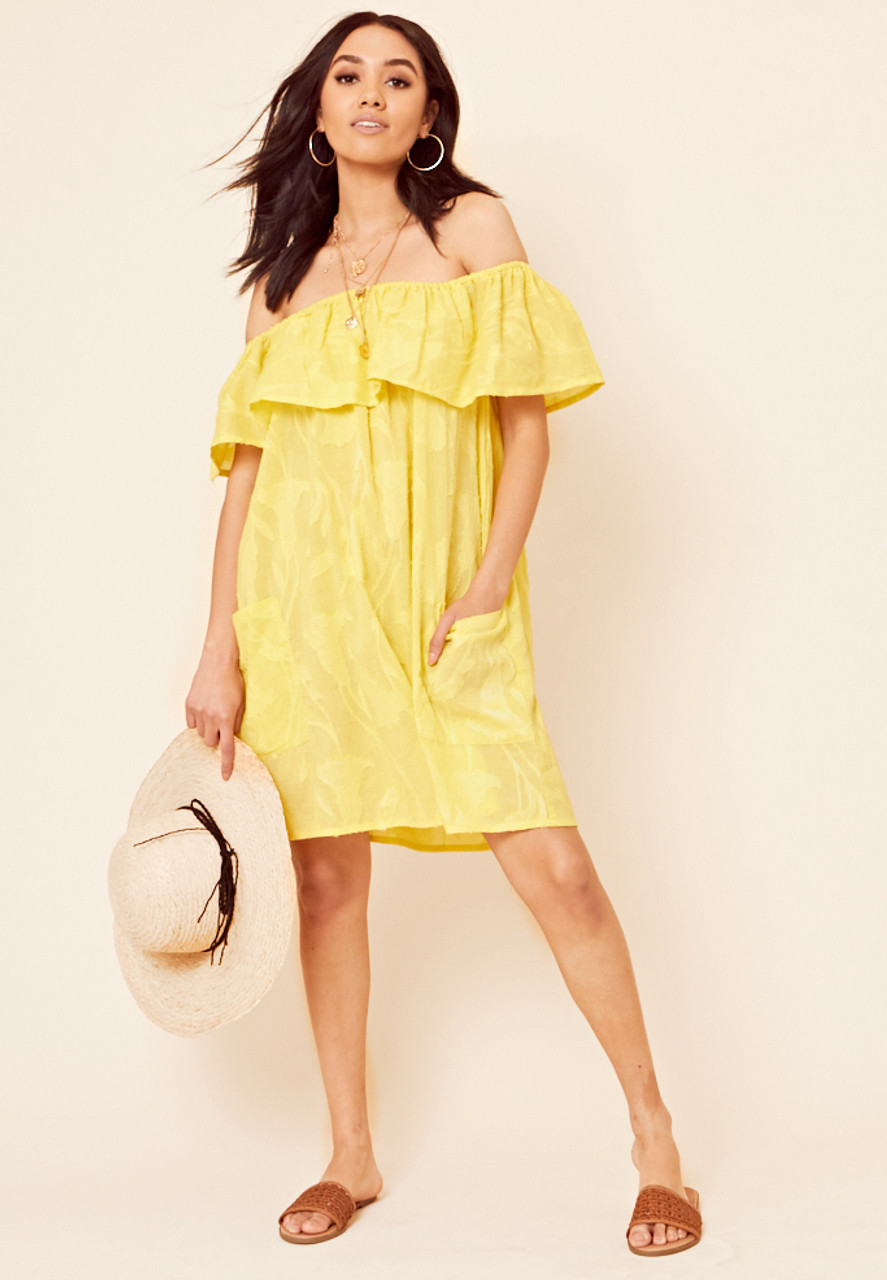Yellow Cotton Burn Out Bardot Frill Layered Mini Dress