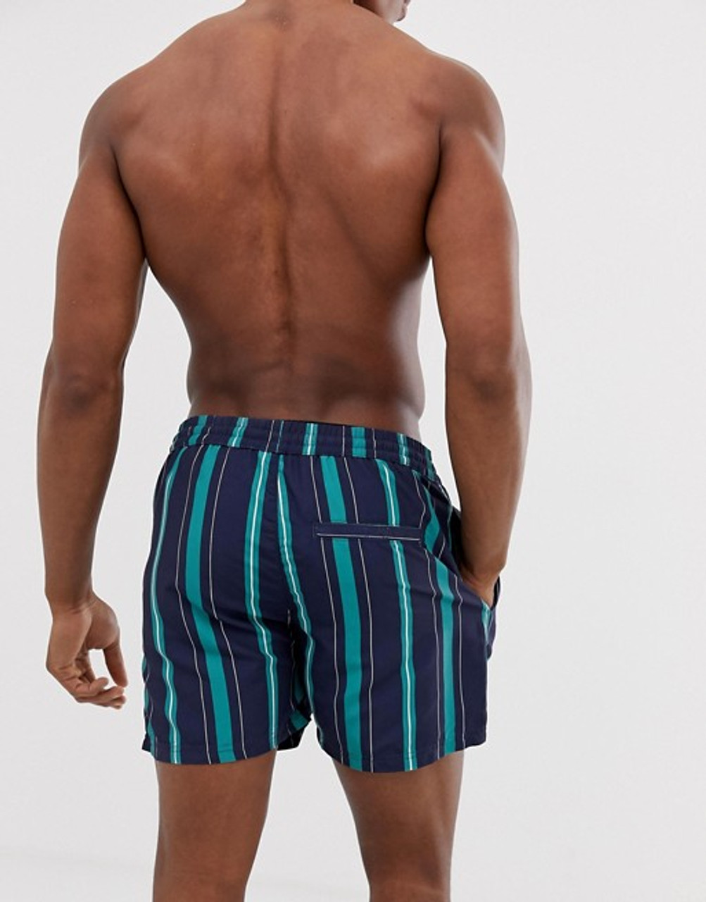 Navy Stripe Print Swim Shorts