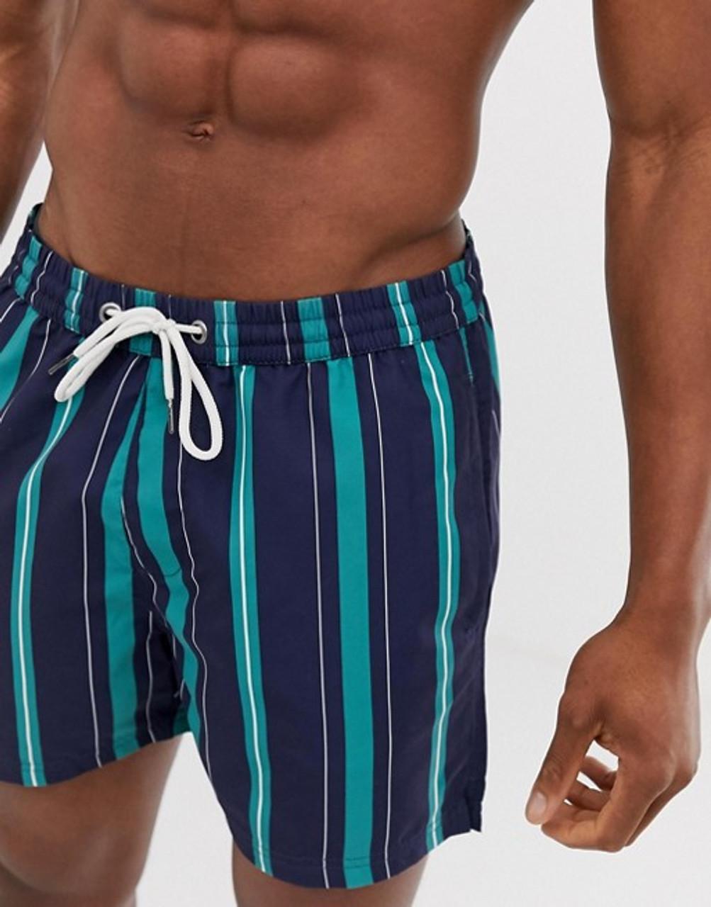 Navy Stripe Print Swim Shorts
