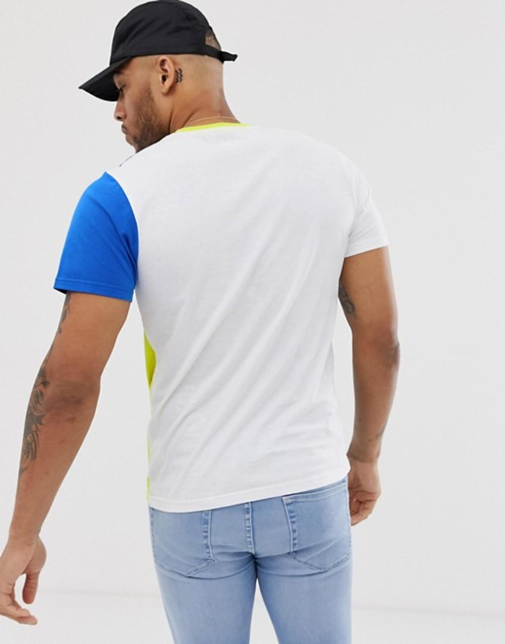 Blue White Colour Block T-shirt