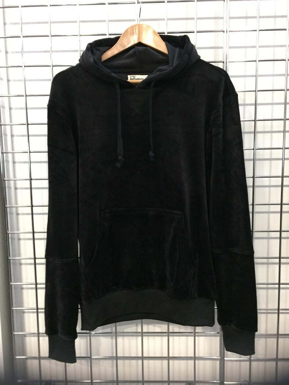 Black colour velvet hoodie